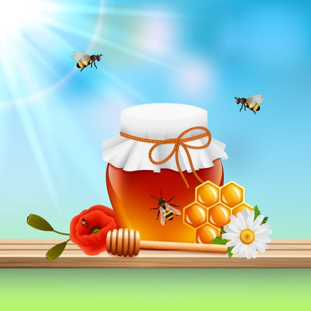 Honey colored composition colored glass jar filled with honey little bees and sun ray vector illustration