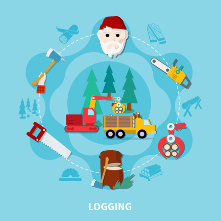 Logging flat composition with lumberjack and steps of wood production complete cycle vector illustration