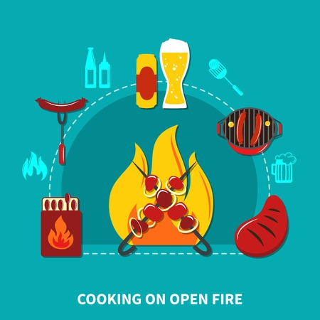 Illustration with cooking on open fire with necessary objects and foods vector illustration Stock Photo