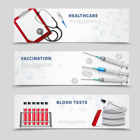 Three horizontal banners set with realistic medical treatment tools stethoscope blood test vials and vaccine injectors vector illustration
