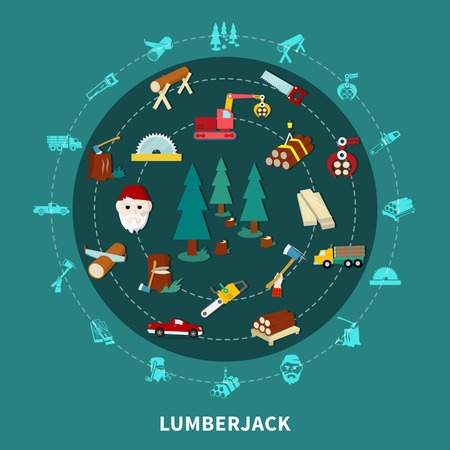 Lumberjack flat colored round composition with tools for work equipment and attributes vector illustration
