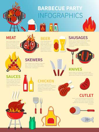 party drinks: Barbecue party infographics drawing different icons of food and drinks vector illustration