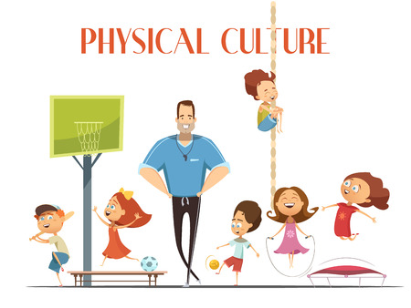 小学校体育教師を楽しむ子供たちの演奏、バスケット ボール、野球漫画のベクトル図と現代のスポーツ施設