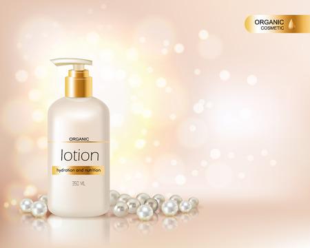 Bombear tapa de la botella con loción cosmética orgánica y tapa de oro decorado con perlas y dispersión de fondo el resplandor ilustración vectorial realista