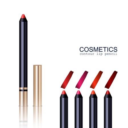 lip stick: Lip pencil realistic set with different colors isolated vector illustration