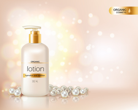 beauty care: Pump top bottle with organic cosmetic lotion and gold cap decorated with scattering of pearls and glare background realistic vector illustration