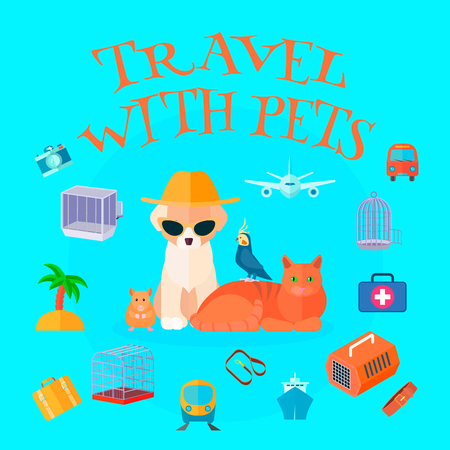 Travel pets background composition with cartoon animals tourist personal things text and different types of transport vector illustration Illustration