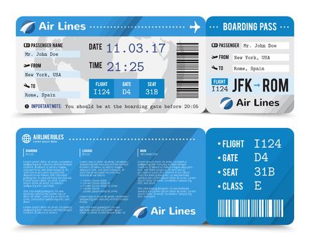 앞면과 뒷면에 승객에 대한 정보가있는 착색 된 현실적인 탑승권 구성 벡터 일러스트 레이션 일러스트