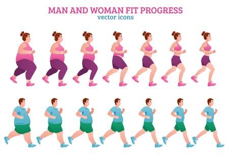Farbige Fitnessstufe Zusammensetzung mit Mann und Frau fit Fortschritt Beschreibung isoliert Icon-Set Vektor-Illustration