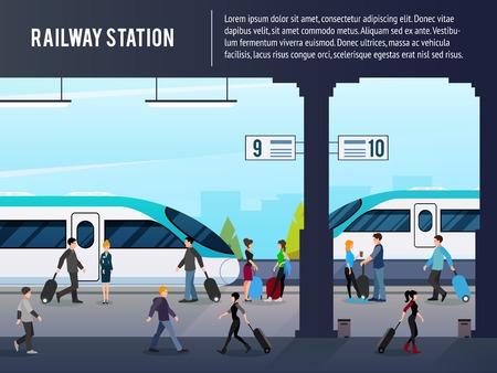 Estación de ferrocarril composición plana con personajes de pasajeros en la plataforma con trenes interurbanos de alta velocidad con ilustración vectorial de texto