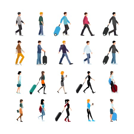 bagagli: Set of young people in clothing of various style with baggage or coffee isolated vector illustration Vettoriali