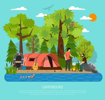couple in summer: Summer family tube tent in campsite recreation area with couple cooking on campfire by the river vector illustration
