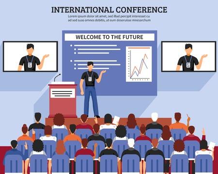 Presentatie conferentiezaal samenstelling internationale conferentie welkom bij de toekomstige beschrijvingen vector illustratie