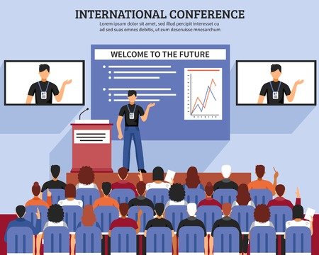 lecture hall: Presentation conference hall composition international conference welcome to the future descriptions vector illustration Illustration