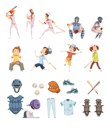 Baseball icons set in cartoon retro style with playing men and kids sports equipment isolated vector illustration Illustration
