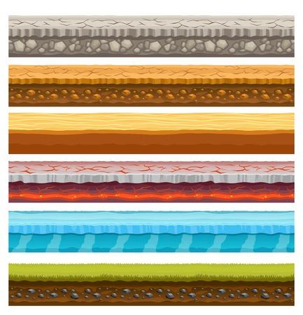 전자 컴퓨터 비디오 게임 화면 표시 원활한 가로 좁은 레이어 토양 잔디 바다 배경 벡터 일러스트와 함께 설정 일러스트