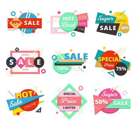 Set di icone geometriche colorate e isolate di vendita di materiale di vendita con vendita eccellente e descrizioni di prezzi speciali illustrazione vettoriale