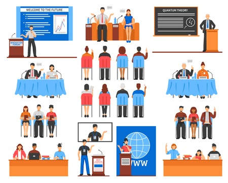 Set of speakers and audience during presentation or conference screens and microphones interior elements isolated vector illustration