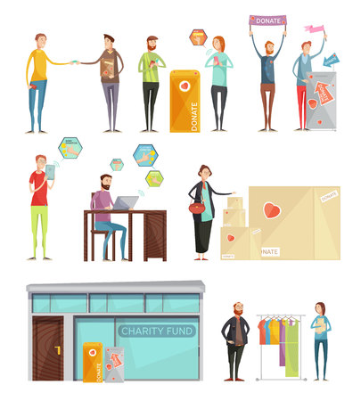 Collection of decorative elements on theme of charity with volunteers collecting funds to help poor people  flat vector Illustration Illustration
