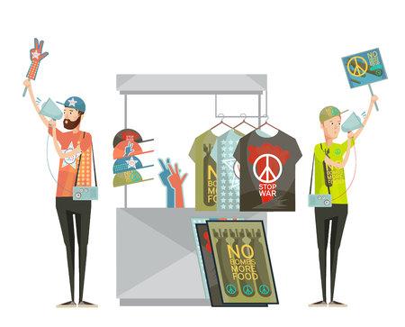 no war: Anti war propaganda design composition with two young men advertising shirts with no war symbols cartoon flat vector illustration