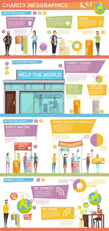 needy: Charity infographics layout with people actions funds ways for support and places for donation flat vector Illustration Illustration