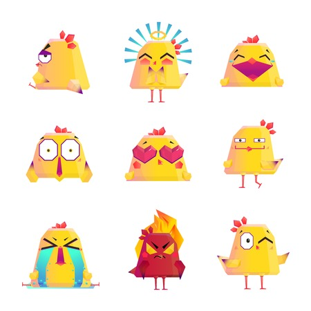 Funny chicken kids favorite cartoon character icons collection with happy love and smile images isolated vector illustration Ilustração