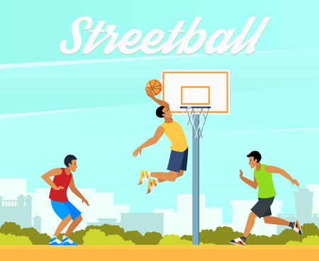 Group of young people playing street basketball in summer on background of city landscape vector illustration Illustration