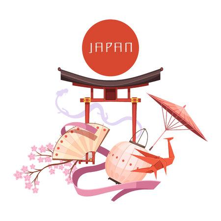 Japanese culture elements including red circle religious shrine sakura origami on white background retro cartoon vector illustration