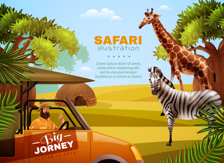 animales safari: Safari colored poster with big journey headline and tourist with animals in his way vector illustration