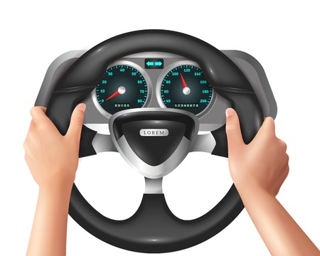 chauffeur: Colored 3 d and realistic isolated hands driver in car with steering wheel vector illustration