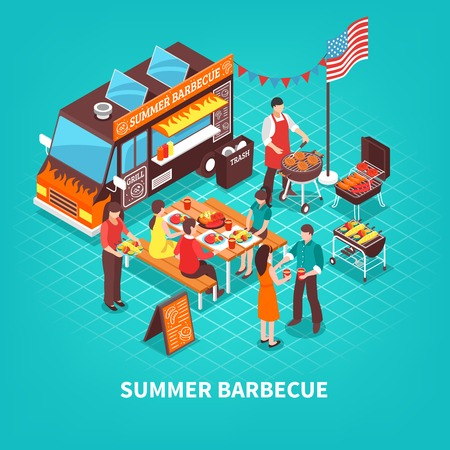 Car with summer barbecue chef near grill and people at table on turquoise background isometric vector illustration