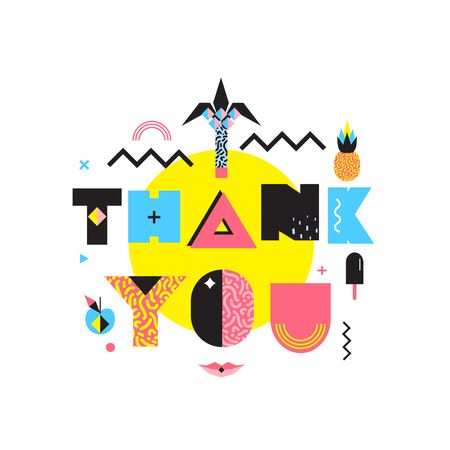 Thank you geometrical composition in bright colorful memphis style abstract retro vector illustration retro design