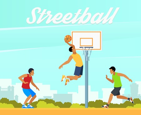 Group of young people playing street basketball in summer on background of city landscape vector illustration Stock Photo