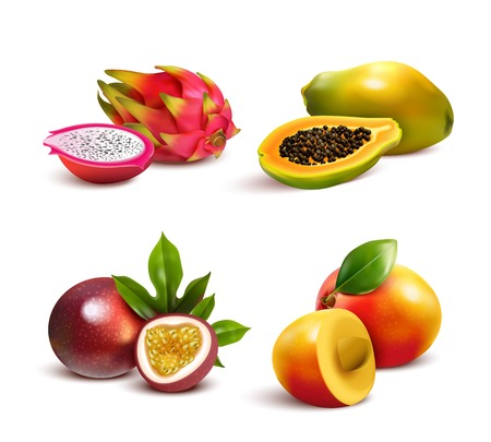 Ripe tropical fruits and slices realistic set with isolated images of mango pitaya papaya and passionfruit vector illustration Stock Photo