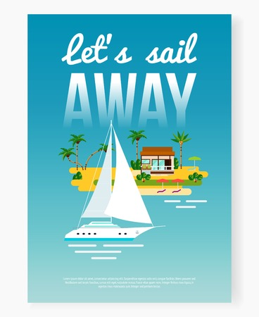 Tropical vacation poster background with flat ocean yacht and island with palms and house with text vector illustration Imagens