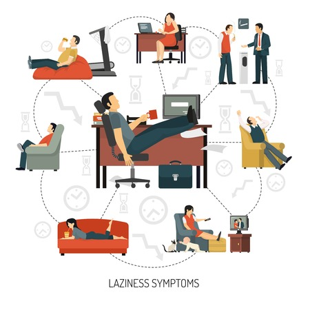 lounging: Infographics with flowchart of laziness symptoms including people at work and in armchair at home vector illustration Stock Photo