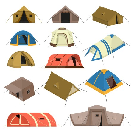 sports equipment: Set of colorful tourist tents of various design with canopy windows and rope isolated vector illustration Stock Photo