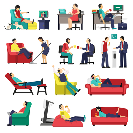 lounging: Set of lazy and tired people in office workplace and at home on sofa isolated vector illustration
