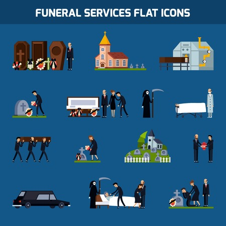 Colored and isolated funeral services flat icon set with death figure and sad people vector illustration