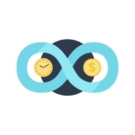 Time is money eternity is abundance conceptual symbols with coin clock face dials flat icon vector illustration