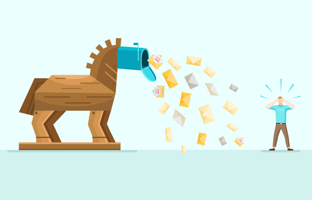 Trojan horse aggressive spam mail danger waring allegoric image with envelops falling from inbox flat vector illustration