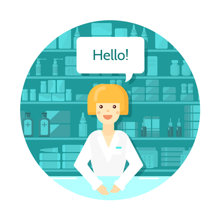 retail therapy: Colored flat pharmacist round composition with consultant at the counter in drugstore vector illustration