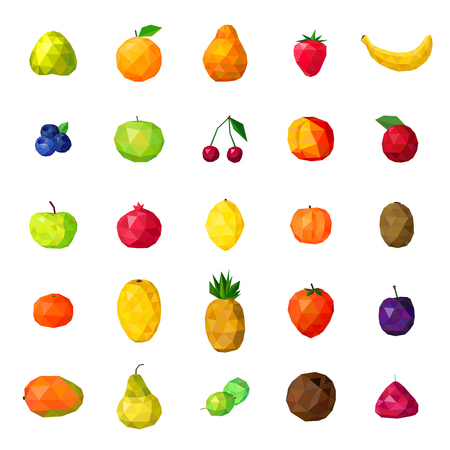 Fresh organic fruits and berries modern polygonal colorful icons collection with papaya strawberry pear isolated vector illustration