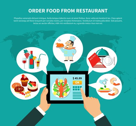 Restaurant infographical concept with human hands holding tablet with online food ordering apps and thought bubbles vector illustration