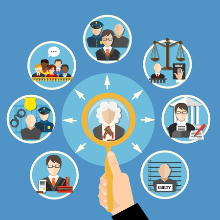 subordinates: Law flat information composition with information search about judges and their subordinates vector illustration