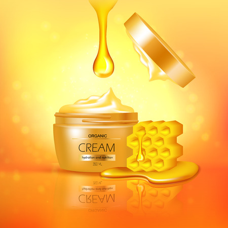 Jar of organic cream with honey 3d composition with reflection on textured glowing yellow background vector illustration