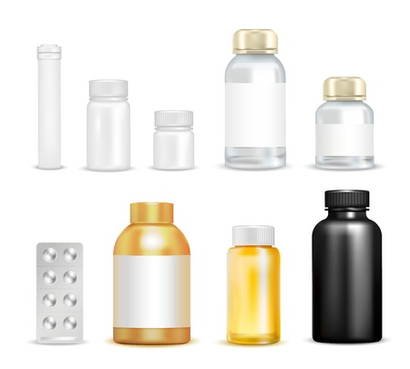 vials: Isolated vitamins packaging images of empty vials transparent flask circumflex caps and blister pack of pills vector illustration Illustration