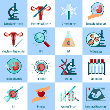 insemination: Artificial insemination square icons set with medicine symbols flat isolated vector illustration