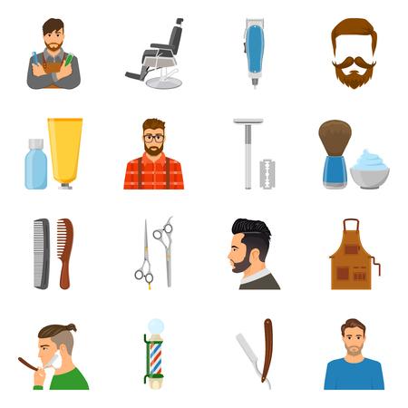 Ensemble d'icônes plates avec coiffeur et clients ciseaux brosse en peigne et coupe-mousse illustration vectorielle isolée Vecteurs