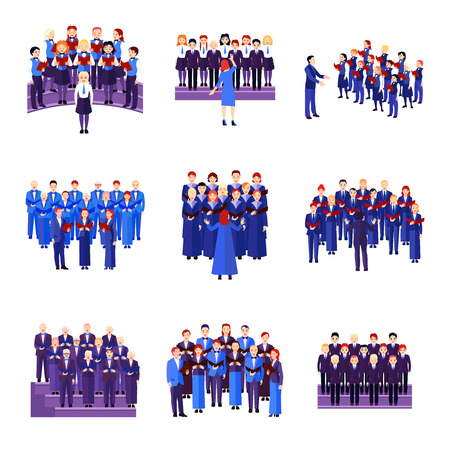 Coro colección iconos planos de 9 conjuntos musicales de cantantes vestidos de ilustración vectorial aislado negro azul marino